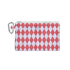 Diamond1 White Marble & Red Colored Pencil Canvas Cosmetic Bag (small) by trendistuff