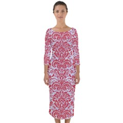 Damask2 White Marble & Red Colored Pencil (r) Quarter Sleeve Midi Bodycon Dress