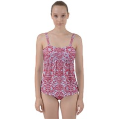 Damask2 White Marble & Red Colored Pencil (r) Twist Front Tankini Set
