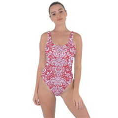Damask2 White Marble & Red Colored Pencil Bring Sexy Back Swimsuit