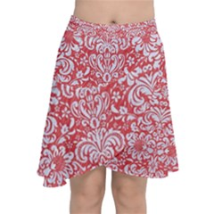 Damask2 White Marble & Red Colored Pencil Chiffon Wrap
