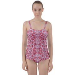 Damask2 White Marble & Red Colored Pencil Twist Front Tankini Set