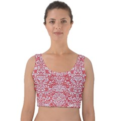 Damask2 White Marble & Red Colored Pencil Velvet Crop Top