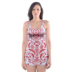 Damask1 White Marble & Red Colored Pencil (r) Skater Dress Swimsuit by trendistuff