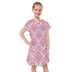 Damask1 White Marble & Red Colored Pencil (r) Kids  Drop Waist Dress