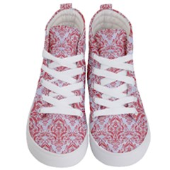 Damask1 White Marble & Red Colored Pencil (r) Kid s Hi Top Skate Sneakers