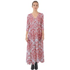 Damask1 White Marble & Red Colored Pencil (r) Button Up Boho Maxi Dress