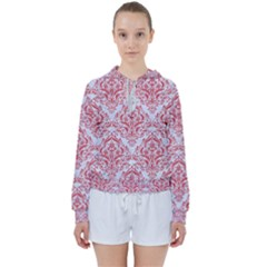 Damask1 White Marble & Red Colored Pencil (r) Women s Tie Up Sweat
