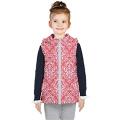 Damask1 White Marble & Red Colored Pencil Kid s Hooded Puffer Vest