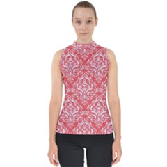 Damask1 White Marble & Red Colored Pencil Shell Top