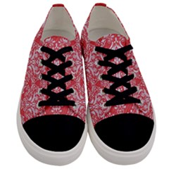 Damask1 White Marble & Red Colored Pencil Men s Low Top Canvas Sneakers