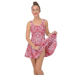 Damask1 White Marble & Red Colored Pencil Inside Out Dress