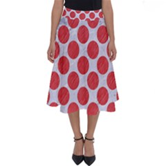 Circles2 White Marble & Red Colored Pencil (r) Perfect Length Midi Skirt