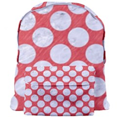 Circles2 White Marble & Red Colored Pencil Giant Full Print Backpack