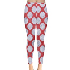 Circles2 White Marble & Red Colored Pencil Inside Out Leggings