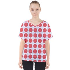 Circles1 White Marble & Red Colored Pencil (r) V Neck Dolman Drape Top