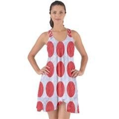 Circles1 White Marble & Red Colored Pencil (r) Show Some Back Chiffon Dress