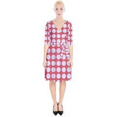 Circles1 White Marble & Red Colored Pencil Wrap Up Cocktail Dress