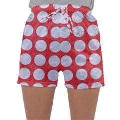 Circles1 White Marble & Red Colored Pencil Sleepwear Shorts