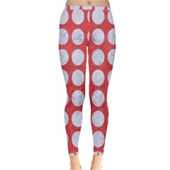 Circles1 White Marble & Red Colored Pencil Inside Out Leggings