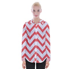 Chevron9 White Marble & Red Colored Pencil (r) Womens Long Sleeve Shirt