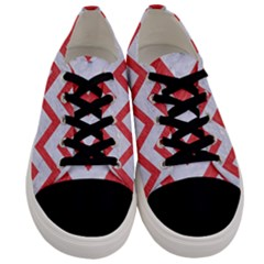 Chevron9 White Marble & Red Colored Pencil (r) Men s Low Top Canvas Sneakers
