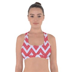 Chevron9 White Marble & Red Colored Pencil Cross Back Sports Bra