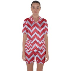 Chevron9 White Marble & Red Colored Pencil Satin Short Sleeve Pyjamas Set