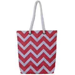 Chevron9 White Marble & Red Colored Pencil Full Print Rope Handle Tote (small)