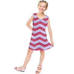 Chevron3 White Marble & Red Colored Pencil Kids  Tunic Dress by trendistuff