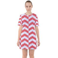 Chevron2 White Marble & Red Colored Pencil Sixties Short Sleeve Mini Dress