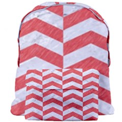 Chevron2 White Marble & Red Colored Pencil Giant Full Print Backpack