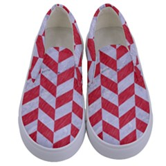 Chevron1 White Marble & Red Colored Pencil Kids  Canvas Slip Ons