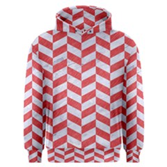 Chevron1 White Marble & Red Colored Pencil Men s Overhead Hoodie