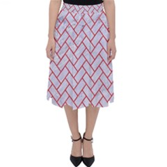 Brick2 White Marble & Red Colored Pencil (r) Folding Skater Skirt