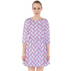 Brick2 White Marble & Red Colored Pencil (r) Smock Dress