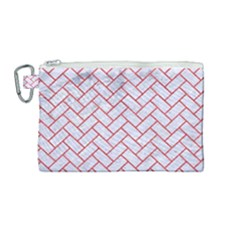 Brick2 White Marble & Red Colored Pencil (r) Canvas Cosmetic Bag (medium)