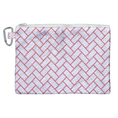 Brick2 White Marble & Red Colored Pencil (r) Canvas Cosmetic Bag (xl) by trendistuff