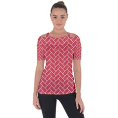 Brick2 White Marble & Red Colored Pencil Short Sleeve Top