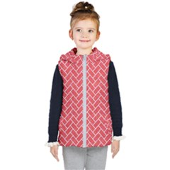 Brick2 White Marble & Red Colored Pencil Kid s Hooded Puffer Vest