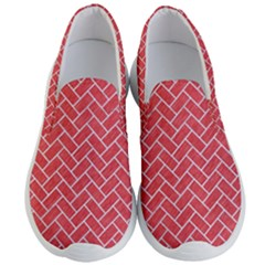 Brick2 White Marble & Red Colored Pencil Men s Lightweight Slip Ons by trendistuff