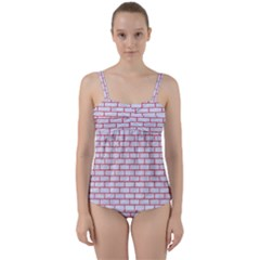 Brick1 White Marble & Red Colored Pencil (r) Twist Front Tankini Set