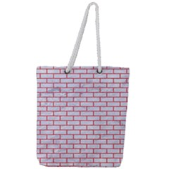 Brick1 White Marble & Red Colored Pencil (r) Full Print Rope Handle Tote (large) by trendistuff