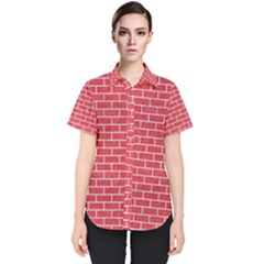 Brick1 White Marble & Red Colored Pencil Women s Short Sleeve Shirt
