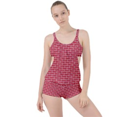 Brick1 White Marble & Red Colored Pencil Boyleg Tankini Set