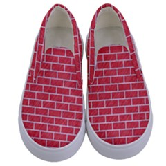 Brick1 White Marble & Red Colored Pencil Kids  Canvas Slip Ons