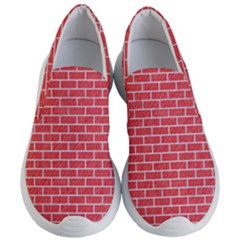 Brick1 White Marble & Red Colored Pencil Women s Lightweight Slip Ons