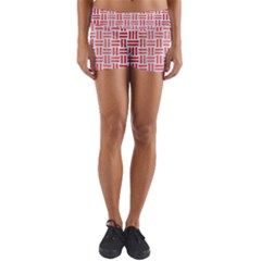 Woven1 White Marble & Red Brushed Metal (r) Yoga Shorts
