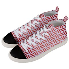 Woven1 White Marble & Red Brushed Metal (r) Men s Mid Top Canvas Sneakers by trendistuff