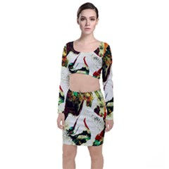 Skull 2 Long Sleeve Crop Top & Bodycon Skirt Set by bestdesignintheworld